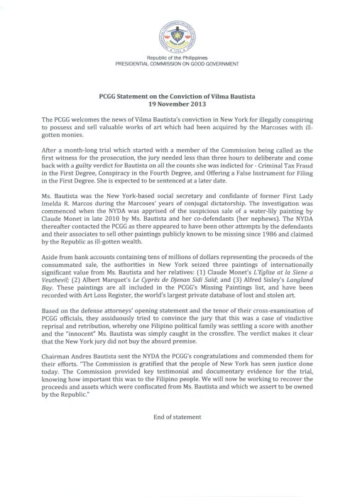 PCGG Statement on the Conviction of VHB