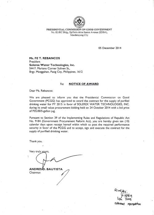 Notice of Award - Supply of Purified Water