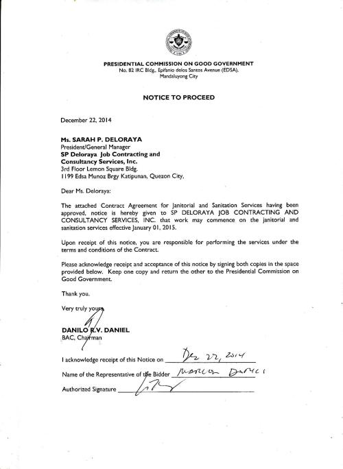Notice to Proceed and Contract for Janitorial and  Sanitation-page-001