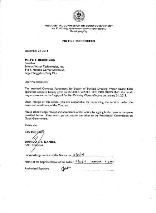 Notice to Proceed and Contract for  Supply of Purified  Water-page-001